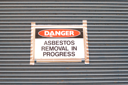 Asbestos removal and abatement in progress