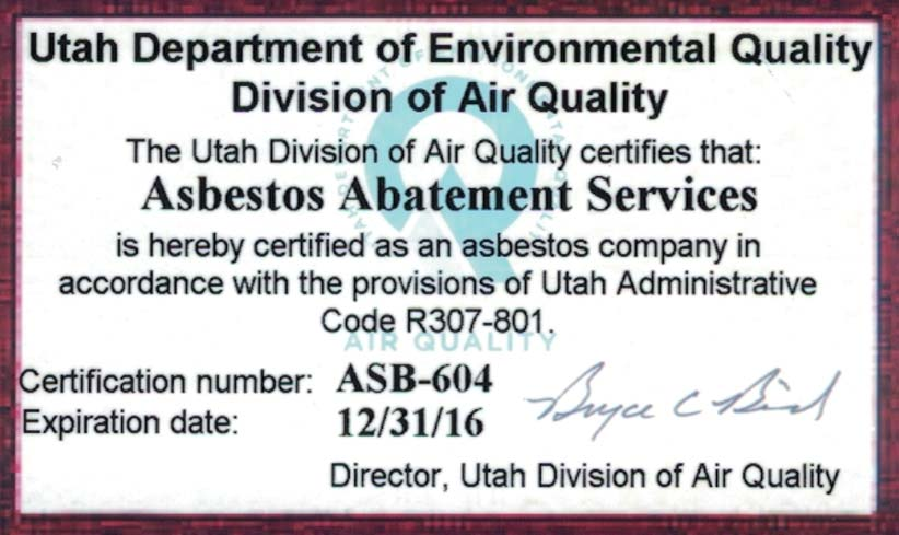 Asbestos Abatement Services - Our Certifications