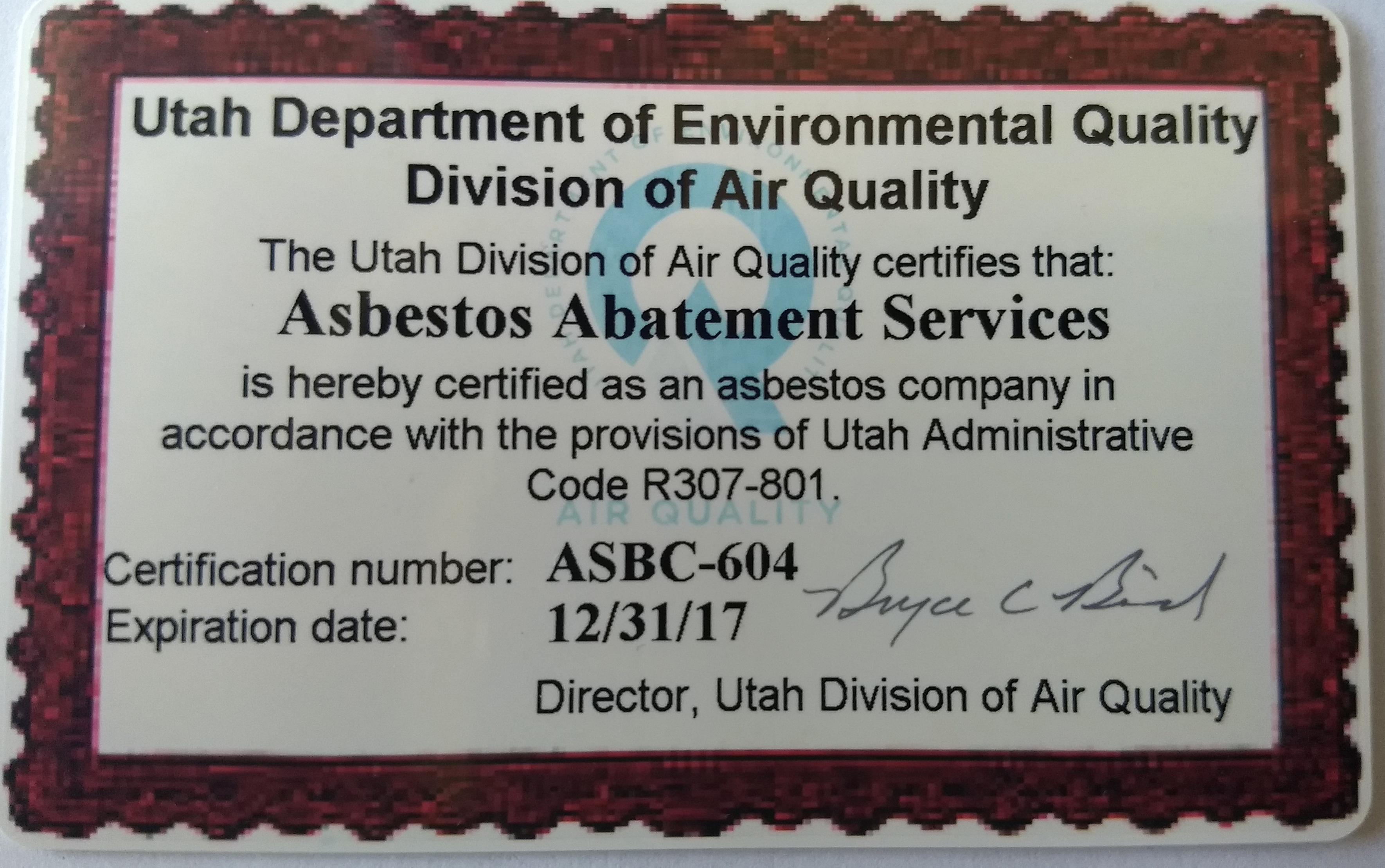 Salt lake city asbestos removal asbestos abatement services of utah our asbestos certification 1betcityfo Gallery