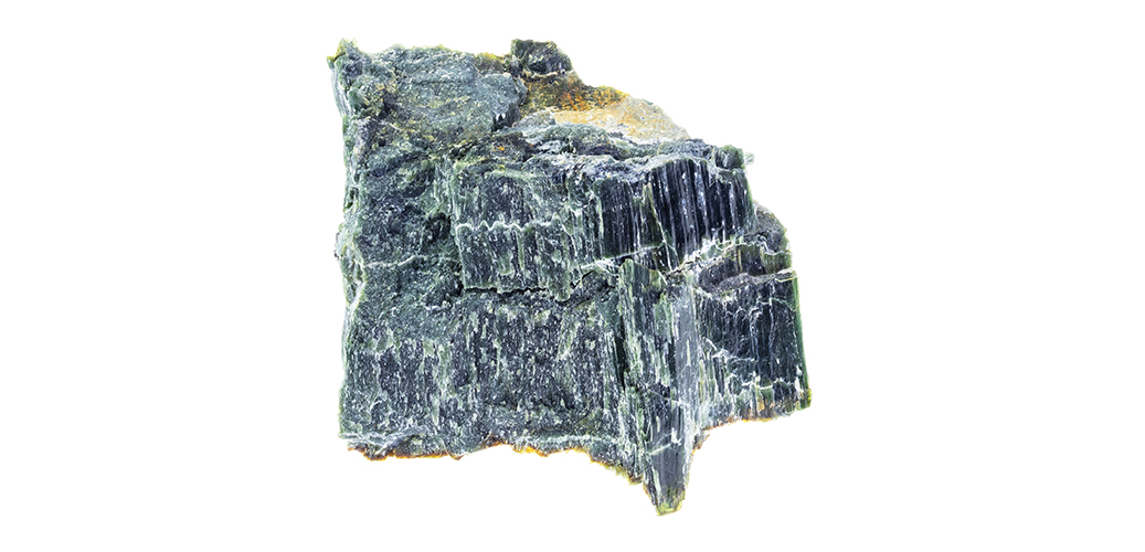 raw Chrysotile Serpentine stone on white