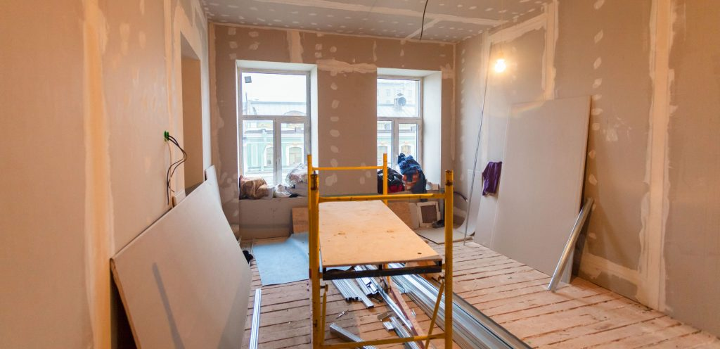 Material for repairs in an apartment is under construction, remodeling, rebuilding and renovation. Making walls from gypsum plasterboard or drywall