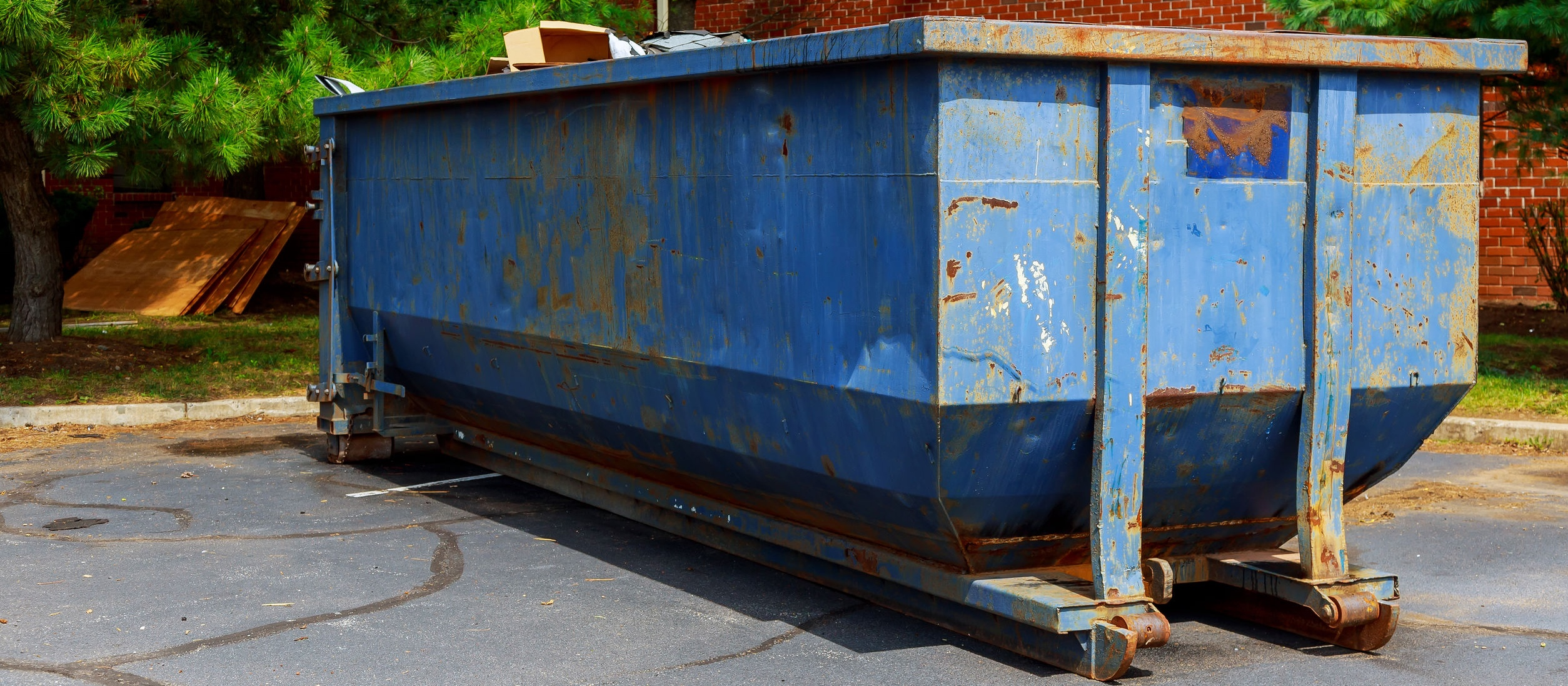 Dumpster outside of a building