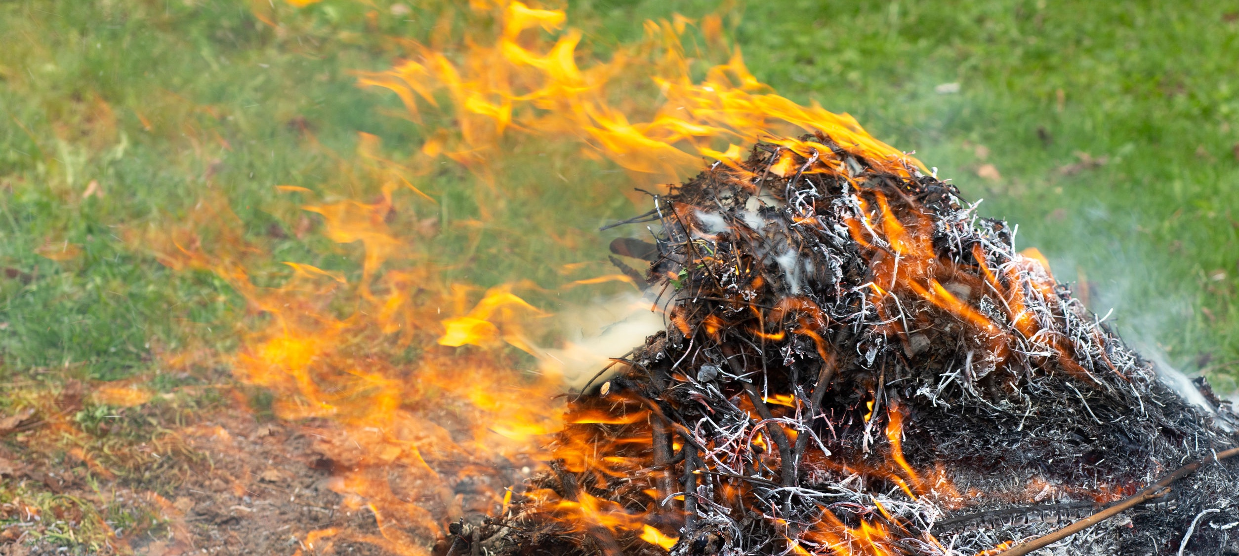 Materials being burned outside