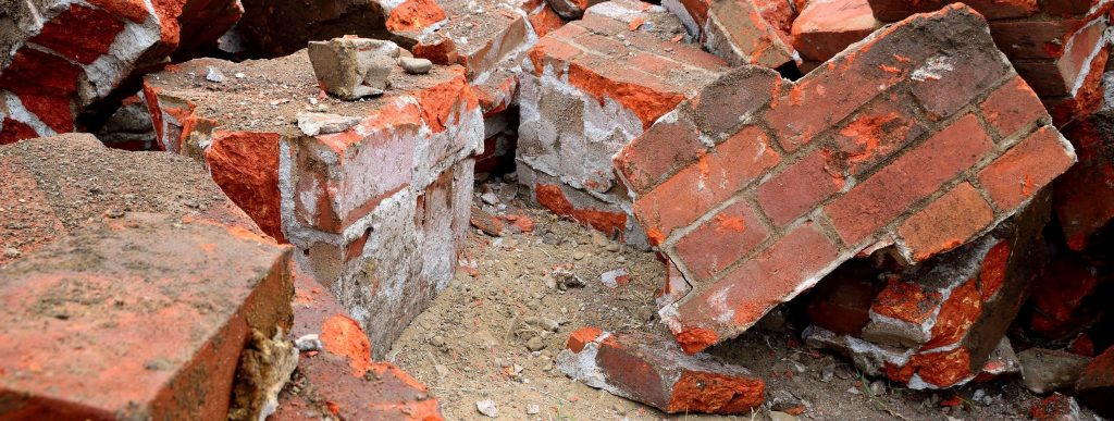 Bricks and concrete from a demolition project