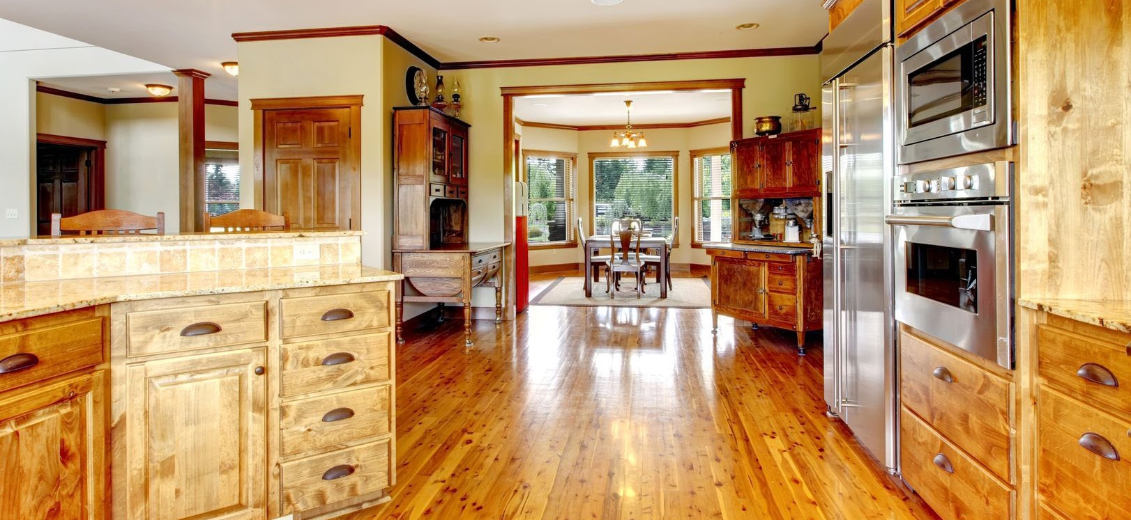Kitchen and dining room in a home